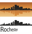 Rochester skyline in orange background vector image