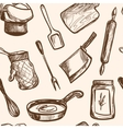 seamless pattern hand drawn kitchen objects vector image vector image