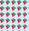 Seamless pattern with Christmas tree and snowflake vector image vector image