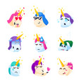 set of unicorns isolated on white background vector image