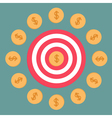 Target and dollar coins Flat design vector image vector image