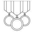 three medals awards ribbon sport honor vector image vector image