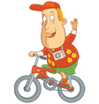 tourist riding bike vector image