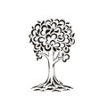 tree silhouette swirls cartoon funny tree vector image