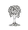 tree silhouette swirls cartoon funny tree vector image vector image