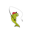 Trout Fly Fishing Rod Hook Cartoon vector image vector image
