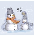 Two Snowman and bird vector image vector image