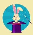 white rabbit in magical hat label of magic show vector image vector image