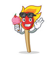 with ice cream match stick character cartoon vector image