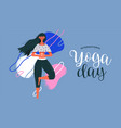 woman doing tree pose exercise for yoga day vector image vector image