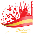 barcelona background with flag and symbol set vector image