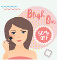 girl wearing using blush on in her face sale vector image