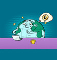 planet character reads the news on bitcoin vector image