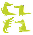 set with happy fun crocodiles cartoon vector image