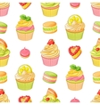 Various bright colorful fruit desserts Seamless vector image