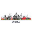 agra india city skyline with color buildings vector image vector image