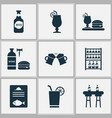 alcohol icons set with glassware dinner bottle vector image