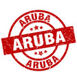 aruba red round grunge stamp vector image vector image