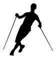 athlete skyrunner with trekking sticks vector image vector image