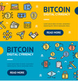 bitcoin digital currency banner horizontal set vector image vector image