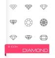 black diamond icon set vector image