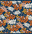 blue and gold bright rowanberry seamless pattern vector image vector image