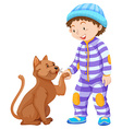 Boy toddler and pet cat vector image vector image