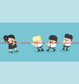 businesswoman and businessman tug war rivalry vector image vector image