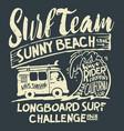 california cute surfing kid van truck vector image
