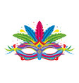 carnival mask with feathers isolated on white vector image vector image
