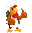 cartoon chicken chef giving the thumbs up vector image