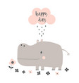 cartoon hippo isolated vector image vector image