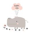 cartoon hippo isolated vector image