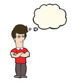 cartoon man with folded arms with thought bubble vector image vector image