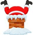 cartoon santa claus stuck in chimney vector image vector image