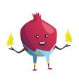 cartoon superhero onion fruit with fire in hands vector image vector image