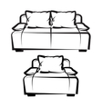 Chair and Sofa freehand drawing vector image vector image