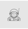 contour icon cute astronaut in a suit and helmet vector image vector image