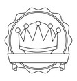 crown badge banner ribbon decoration vector image