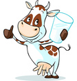 cute cow hold glass of milk - isolated on white vector image vector image
