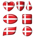 Denmark Flag in various shape glossy button vector image