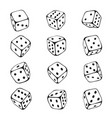 dice sketch set chance and gambling risk vector image