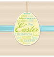 Easter background with hanging label vector image vector image