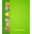 Easter festive background and egg in grass vector image