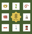 flat icon meal set of sack packet beverage beef vector image vector image