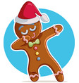 funny dabbing gingerbread man cartoon vector image vector image