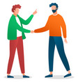 handshaking men friends meeting two young vector image
