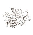 Happy Valentines day flying Cupid