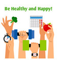 healthy ifestyle concept with hands vector image vector image