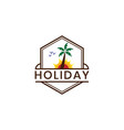 holiday logo template with hexagonal shape logo vector image vector image
